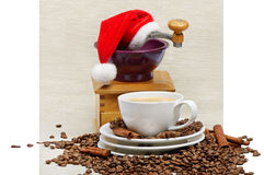 Christmas coffee. Coffee cup and grinder Stock Image