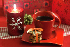 Christmas coffee. With a set of cookies Royalty Free Stock Images