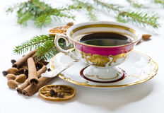 Christmas coffee in the china cup. Retro china cup of coffee on the christmas time Royalty Free Stock Photo