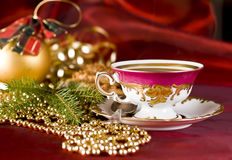 Christmas coffee in the china cup. Retro china cup of coffee on the christmas time Royalty Free Stock Photos