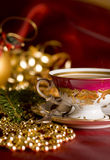 Christmas coffee in the china cup. Retro china cup of coffee on the christmas time Stock Photos
