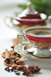 Christmas coffee in the china cup Royalty Free Stock Image