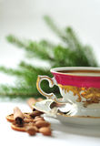 Christmas coffee in the china cup Stock Photos