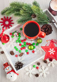 Christmas coffee cup and candies Royalty Free Stock Photography