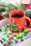 Christmas coffee cup and candies Stock Photo
