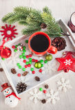 Christmas coffee cup and candies Royalty Free Stock Images