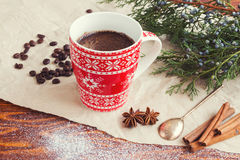 Christmas coffee cup. Christmas coffee with cinnamon, anise and coffee beans Stock Images