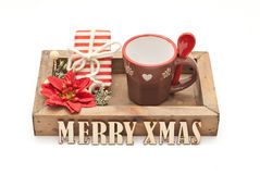 Christmas. Coffee cup and gift Stock Photography