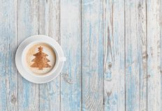 Christmas coffee cup top view stock image