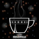 Christmas coffee cup white silhouette on black festive backgroun. Festive Glowing Blaack Background with Decorated Coffee Tea Cup White Silhouette and Decorative Stock Photo