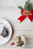 Christmas Coffee and Dessert. Christmas Background Royalty Free Stock Photography