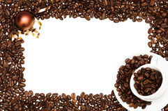 Christmas Coffee Frame. Christmas coffee bean frame with cup and saucer Royalty Free Stock Images