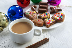 Christmas coffee with gingerbread Stock Photography