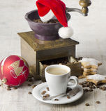 Christmas coffee grinder Stock Photography