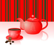 Christmas coffee in red teapot Royalty Free Stock Photography