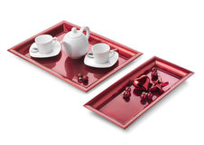 Christmas coffee set. Coffee set and Christmas arrangements. Clipping path Royalty Free Stock Photography