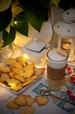Christmas and coffee still life abstract with warm led lights Stock Image