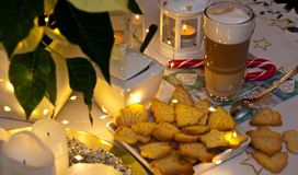 Christmas and coffee still life abstract with warm led lights Royalty Free Stock Photo