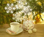 Christmas coffee with sweets Royalty Free Stock Photos