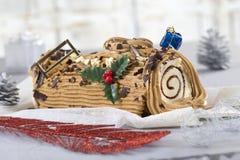 Christmas coffee yule log cake Stock Photography