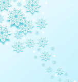 Christmas cold background with snowflakes Stock Images