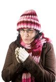 Christmas cold girl Stock Images