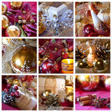 Christmas collage. A collage of nine photos about Christmas theme with candles, balls, decorations and gifts stock photo