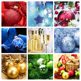 Christmas Collage. Christmas Holiday Collage.Baubles and Gifts collection Stock Images