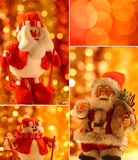 Christmas collage. With Santa Claus and snowman Stock Photography