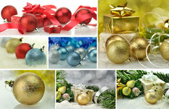 Christmas collage. Christmas Holiday Collage with decorations Stock Photography