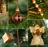 Christmas collage. With gnome, elf6 cone and glow toy on the christmas tree Royalty Free Stock Photo