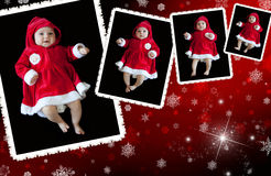 Christmas collage. With funny babies and snowflakes Royalty Free Stock Images