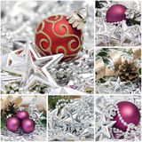 Christmas collage. Nine pictures with christmas decoration Stock Photography