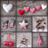 Christmas collage. Collage of christmas photos over grey wood background stock images