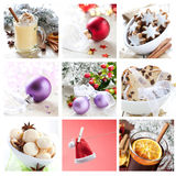 Christmas collage. Collage for christmas with cookies, mulled wine and ornaments Stock Photos