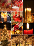 Christmas collage. With all warm tone images for Christmas night Stock Photos