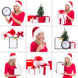 Christmas collage. beautiful woman with gift boxes, clock and ch. Ampagne over white Royalty Free Stock Photos