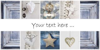 Christmas collage in blue - ideas for decoration or a greeting c Royalty Free Stock Photo