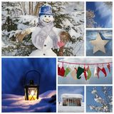 Christmas collage in blue - ideas for decoration or a greeting c. Ard with a snowman, latern and santa boots Stock Image