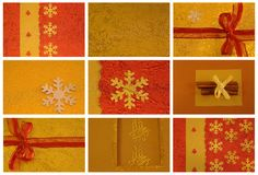 Christmas collage with card, cinnamon Stock Photography