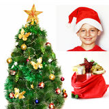 Christmas collage. Christmas tree, gifts and Santa Stock Image