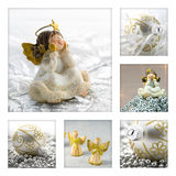 Christmas Collage. Concept with angels and christmas balls Royalty Free Stock Image