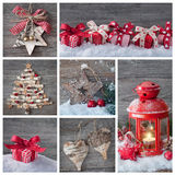 Christmas collage. Collage of christmas decorations on a wooden background Royalty Free Stock Photography