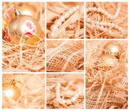 Christmas collage of different backgrounds with strow in gold Stock Photography