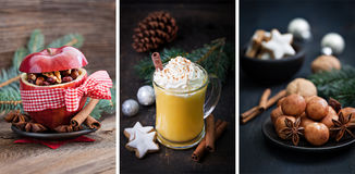 Christmas collage. With eggnog and baked apple Stock Photos