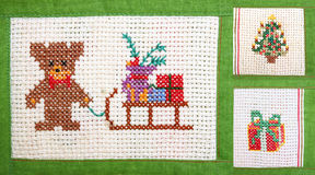 Christmas collage - embroider Stock Photos