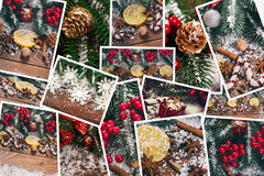 Christmas collage. With gifts,toys and fir tree branches. Christmas collection Stock Photos