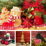 Christmas collage. Gingerbread, snowman, tree, gift and rabbit animal Royalty Free Stock Photo