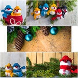 Christmas collage glass ball snowman candle lights Royalty Free Stock Photography