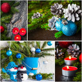 Christmas collage glass ball snowman candle lights Royalty Free Stock Images